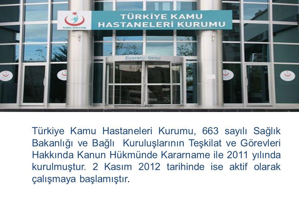 Türkiye Kamu Hastaneleri Kurumu, 663 sayılı Sağlık Bakanlığı ve Bağlı Kuruluşlarının Teşkilat ve Görevleri Hakkında Kanun Hükmünde Kararname ile 2011 yılında kurulmuştur.