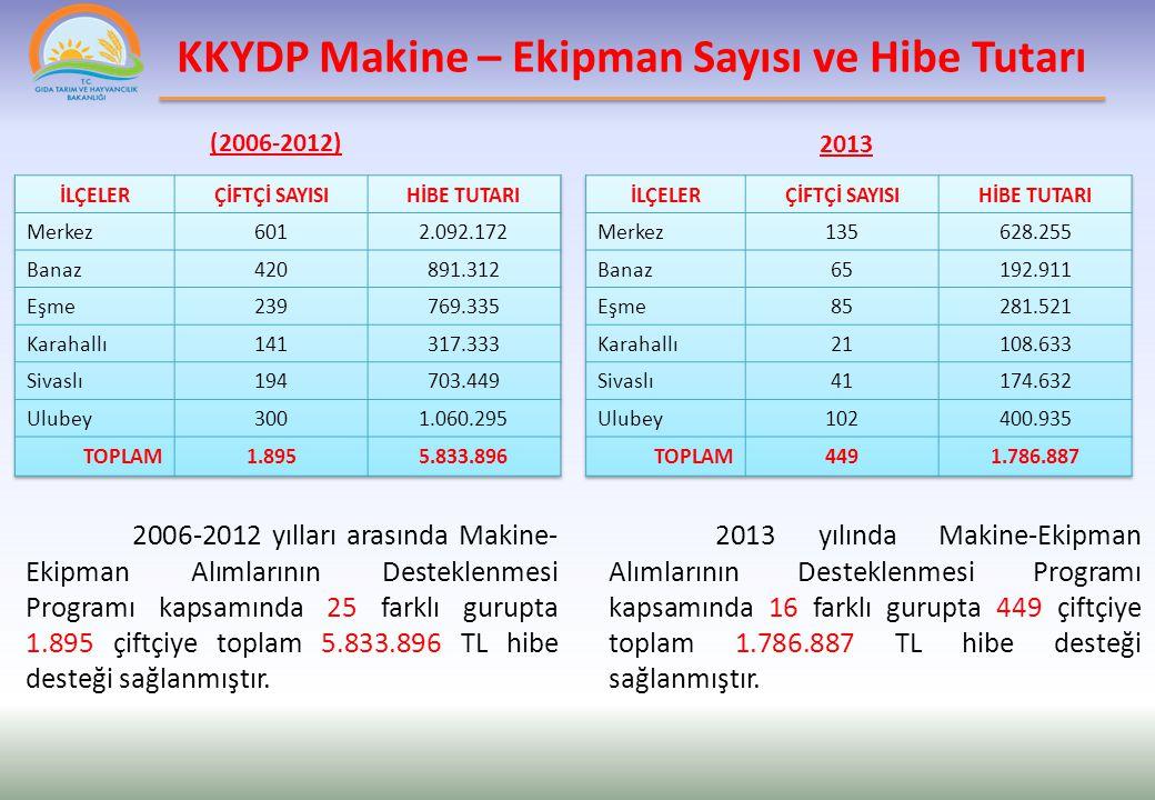 KKYDP Makine-Ekipman Sayısı ve Hibe Tutarı (2013)