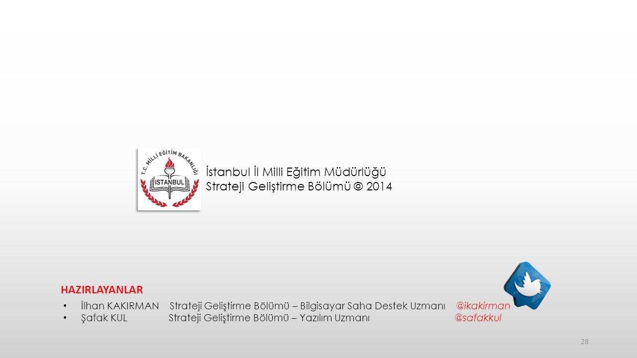 İstanbul İl Milli Eğitim Müdürlüğü Strateji Geliştirme Bölümü © 2014