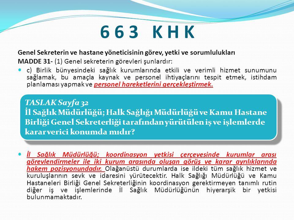 6 6 3 K H K Genel Sekreterin ve hastane yöneticisinin görev, yetki ve sorumlulukları. MADDE 31- (1) Genel sekreterin görevleri şunlardır:
