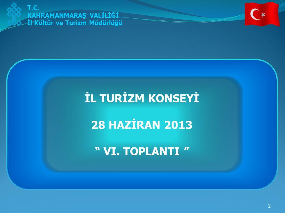 İL TURİZM KONSEYİ 28 HAZİRAN 2013 VI. TOPLANTI