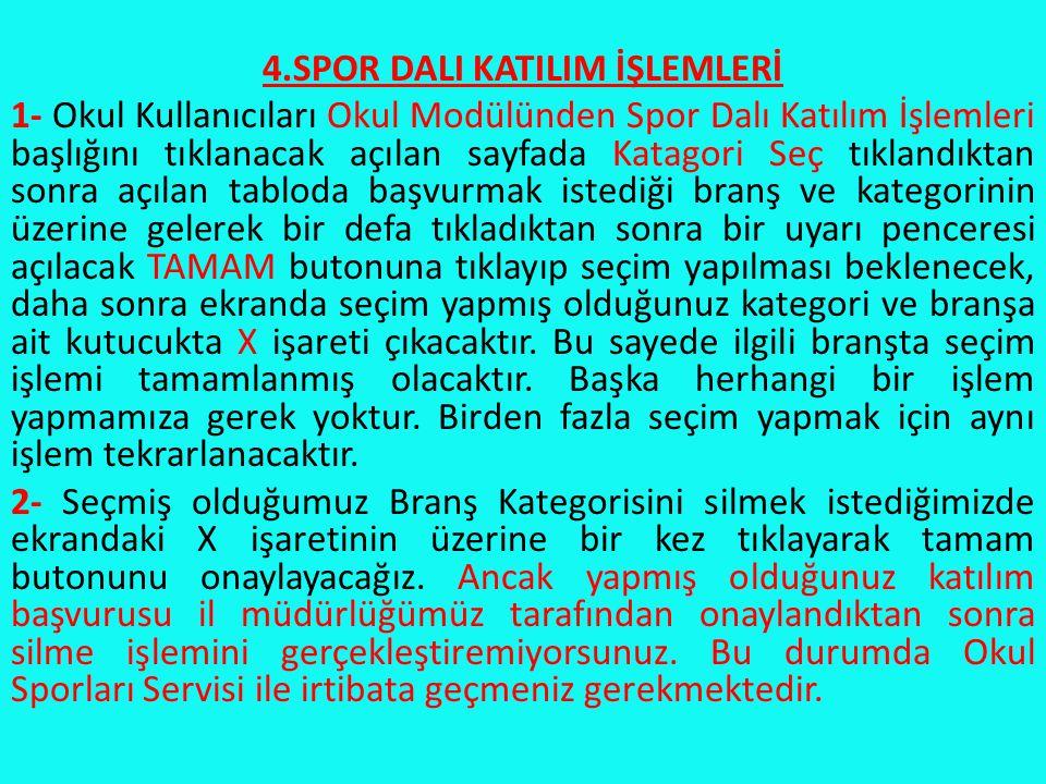 4.SPOR DALI KATILIM İŞLEMLERİ