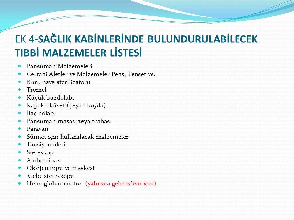 EK 4-SAĞLIK KABİNLERİNDE BULUNDURULABİLECEK TIBBİ MALZEMELER LİSTESİ