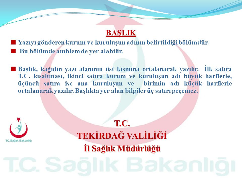 T.C. TEKİRDAĞ VALİLİĞİ İl Sağlık Müdürlüğü