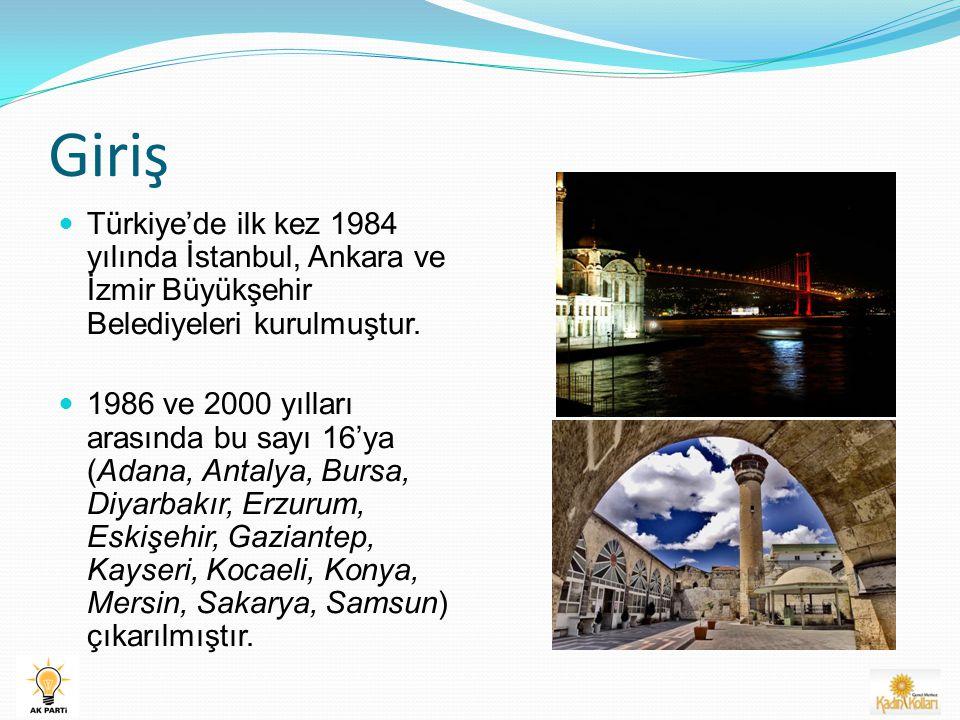 Giriş Türkiye'de ilk kez 1984 yılında İstanbul, Ankara ve İzmir Büyükşehir Belediyeleri kurulmuştur.