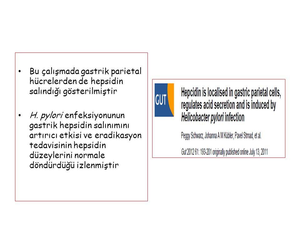 Bu çalışmada gastrik parietal hücrelerden de hepsidin salındığı gösterilmiştir