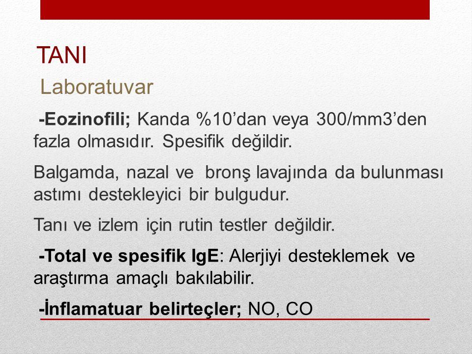 TANI Laboratuvar. -Eozinofili; Kanda %10'dan veya 300/mm3'den fazla olmasıdır. Spesifik değildir.