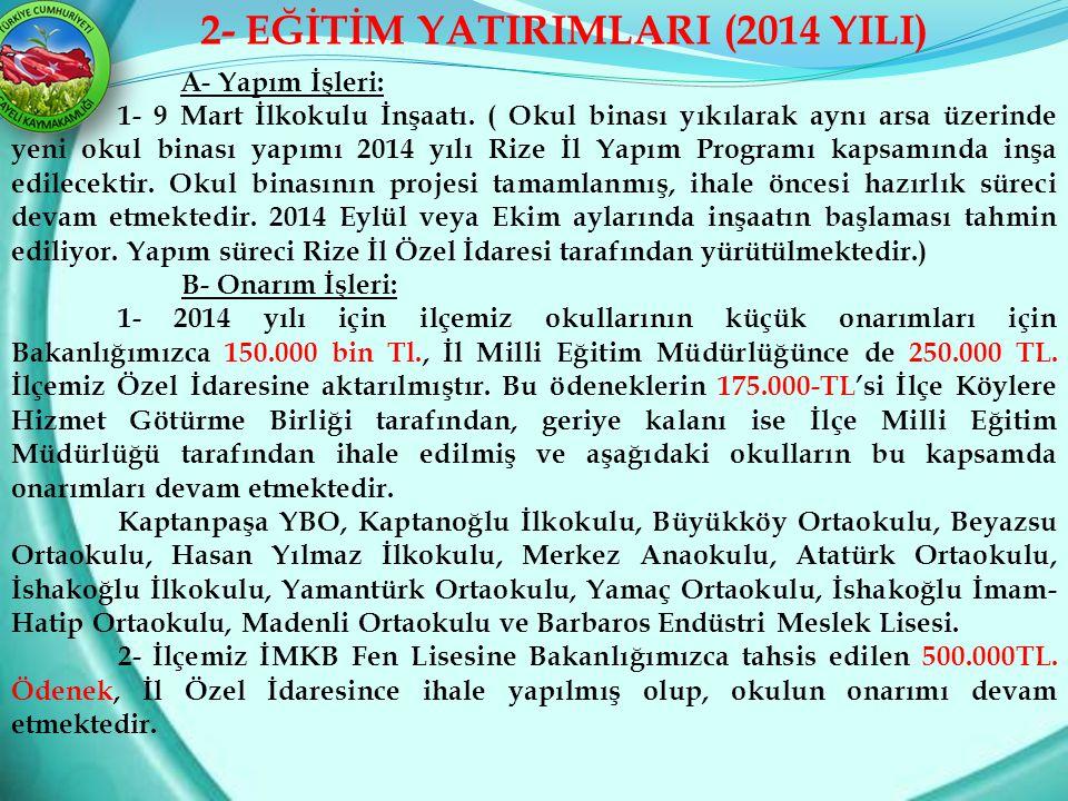 2- EĞİTİM YATIRIMLARI (2014 YILI)