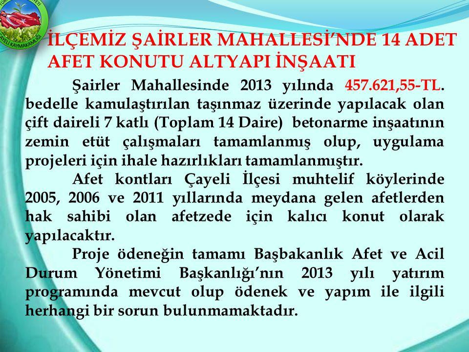 İLÇEMİZ ŞAİRLER MAHALLESİ'NDE 14 ADET AFET KONUTU ALTYAPI İNŞAATI