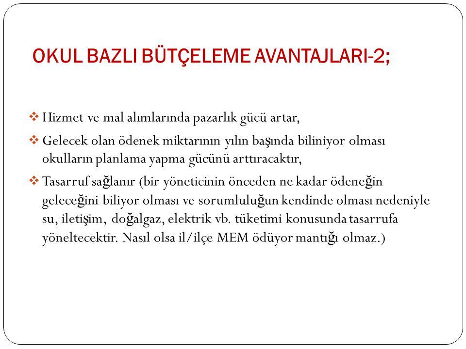 Okul BazlI Bütçeleme AvantajlarI-2;