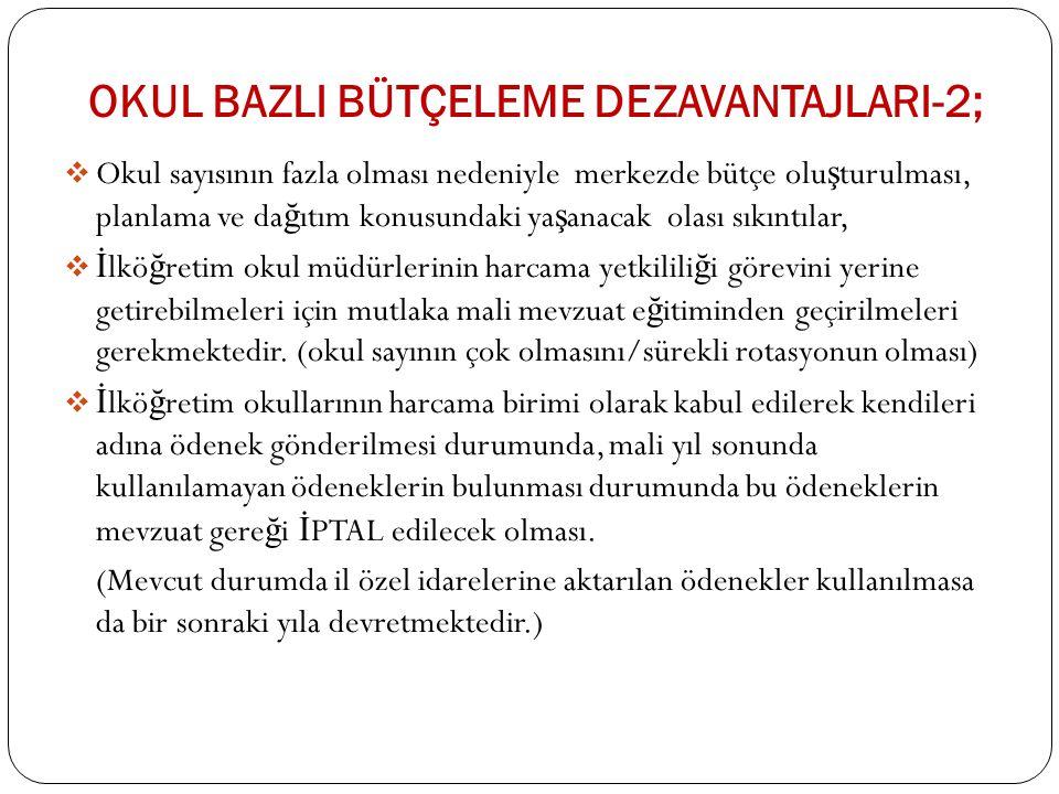 Okul BazlI Bütçeleme DEZAvantajlarI-2;