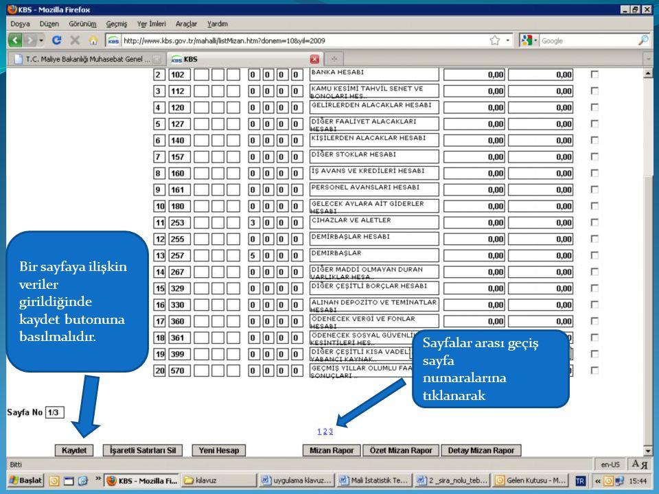 Bir sayfaya ilişkin veriler girildiğinde. kaydet butonuna. basılmalıdır. Sayfalar arası geçiş. sayfa.
