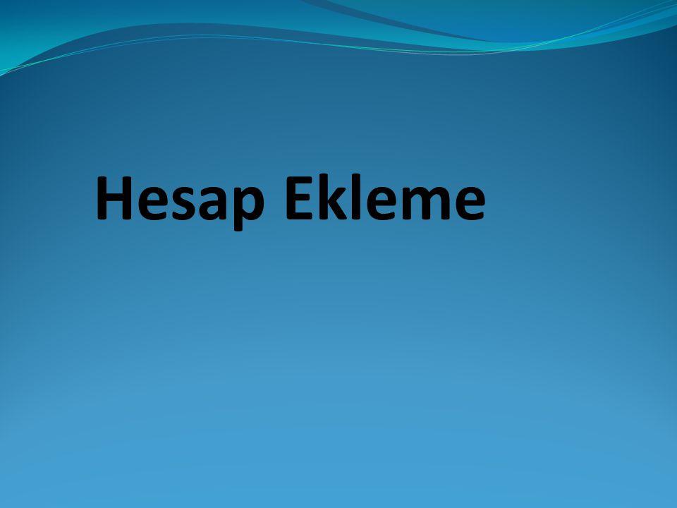 Hesap Ekleme