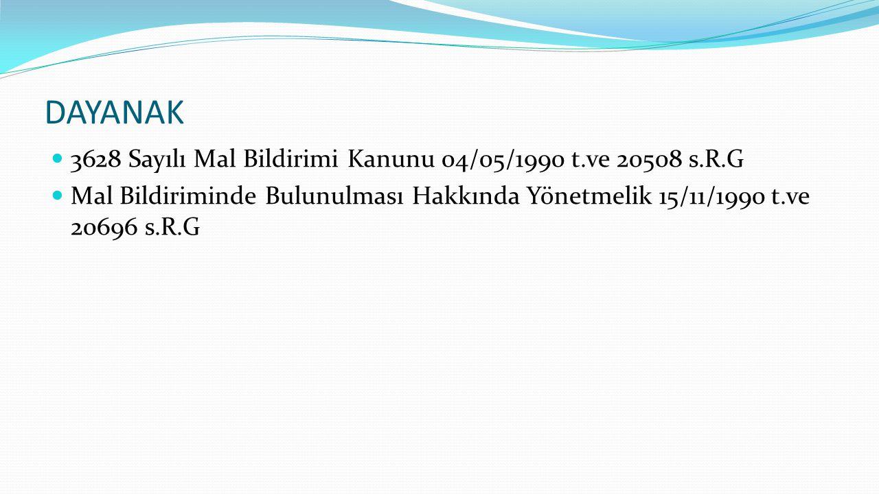 DAYANAK 3628 Sayılı Mal Bildirimi Kanunu 04/05/1990 t.ve 20508 s.R.G