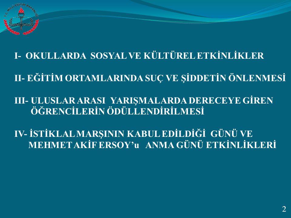 I- OKULLARDA SOSYAL VE KÜLTÜREL ETKİNLİKLER
