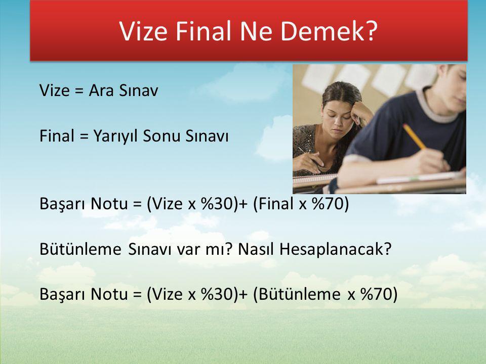 Vize Final Ne Demek Vize = Ara Sınav Final = Yarıyıl Sonu Sınavı