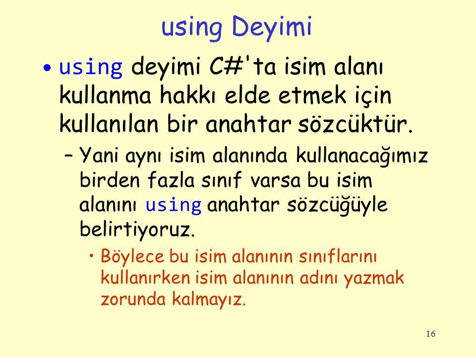 using Deyimi using deyimi C# ta isim alanı kullanma hakkı elde etmek için kullanılan bir anahtar sözcüktür.