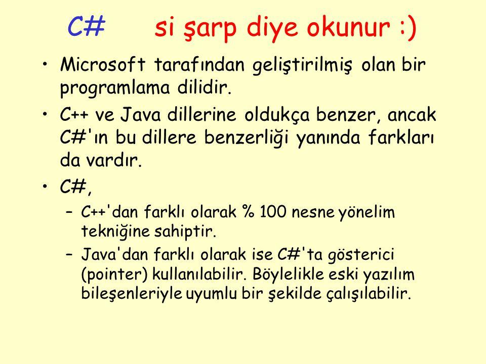 C# si şarp diye okunur :)