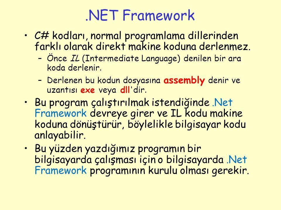 .NET Framework C# kodları, normal programlama dillerinden farklı olarak direkt makine koduna derlenmez.