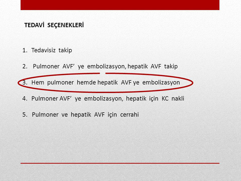 TEDAVİ SEÇENEKLERİ Tedavisiz takip. Pulmoner AVF' ye embolizasyon, hepatik AVF takip. Hem pulmoner hemde hepatik AVF ye embolizasyon.