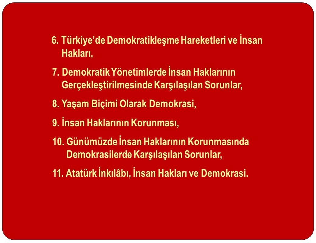 6. Türkiye'de Demokratikleşme Hareketleri ve İnsan Hakları,