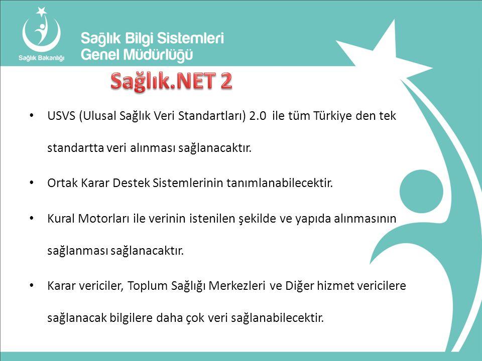 Sağlık.NET 2 USVS (Ulusal Sağlık Veri Standartları) 2.0 ile tüm Türkiye den tek standartta veri alınması sağlanacaktır.