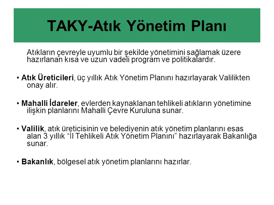 TAKY-Atık Yönetim Planı