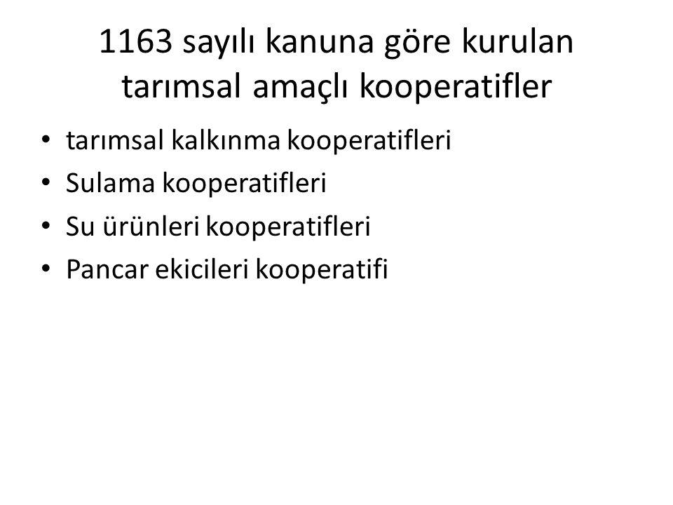 1163 sayılı kanuna göre kurulan tarımsal amaçlı kooperatifler