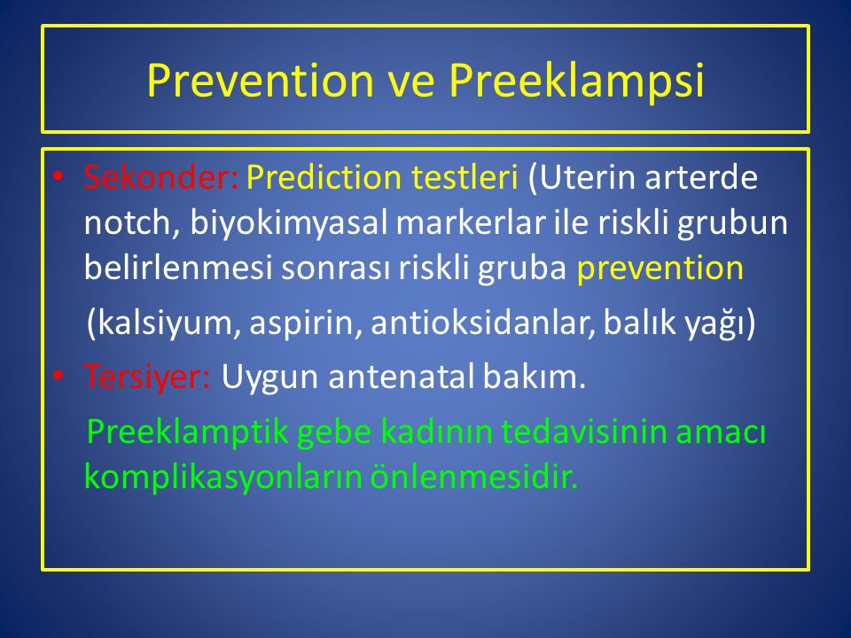 Prevention ve Preeklampsi