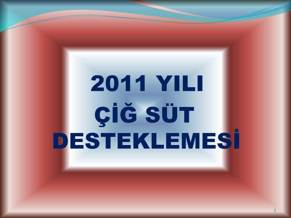2011 YILI ÇİĞ SÜT DESTEKLEMESİ