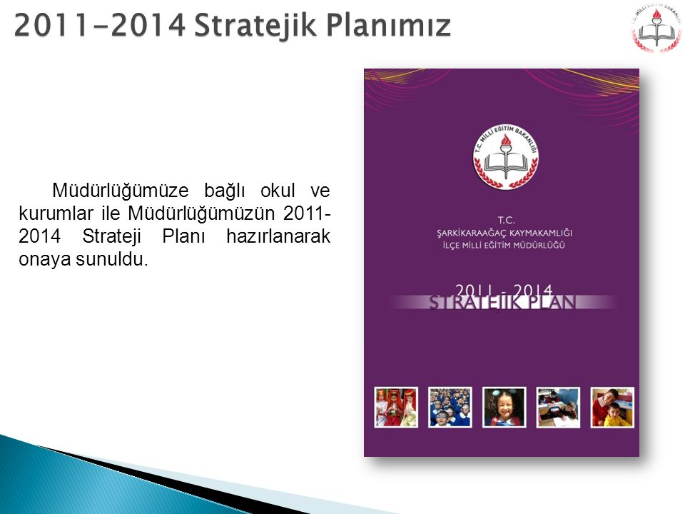 2011-2014 Stratejik Planımız Müdürlüğümüze bağlı okul ve kurumlar ile Müdürlüğümüzün 2011-2014 Strateji Planı hazırlanarak onaya sunuldu.