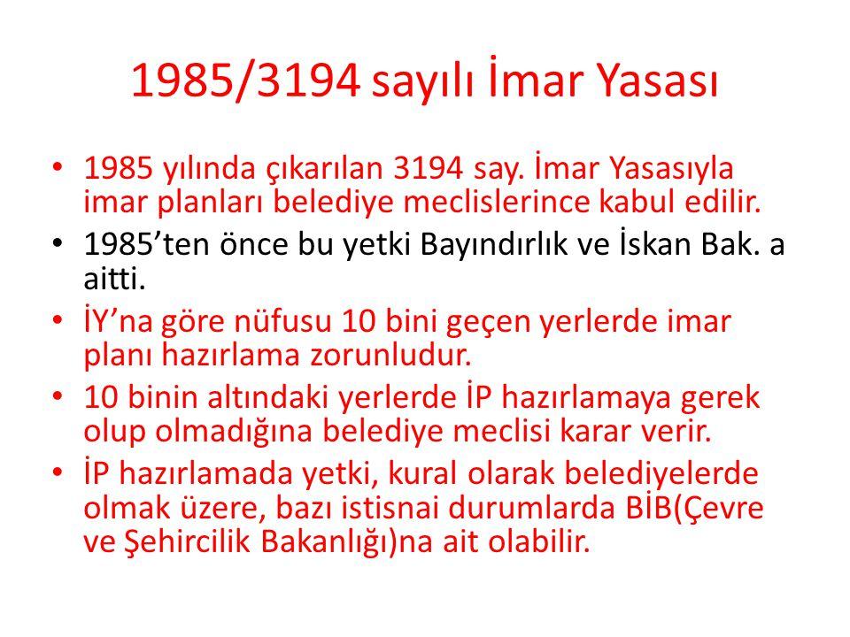 1985/3194 sayılı İmar Yasası 1985 yılında çıkarılan 3194 say. İmar Yasasıyla imar planları belediye meclislerince kabul edilir.