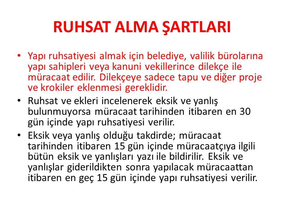 RUHSAT ALMA ŞARTLARI