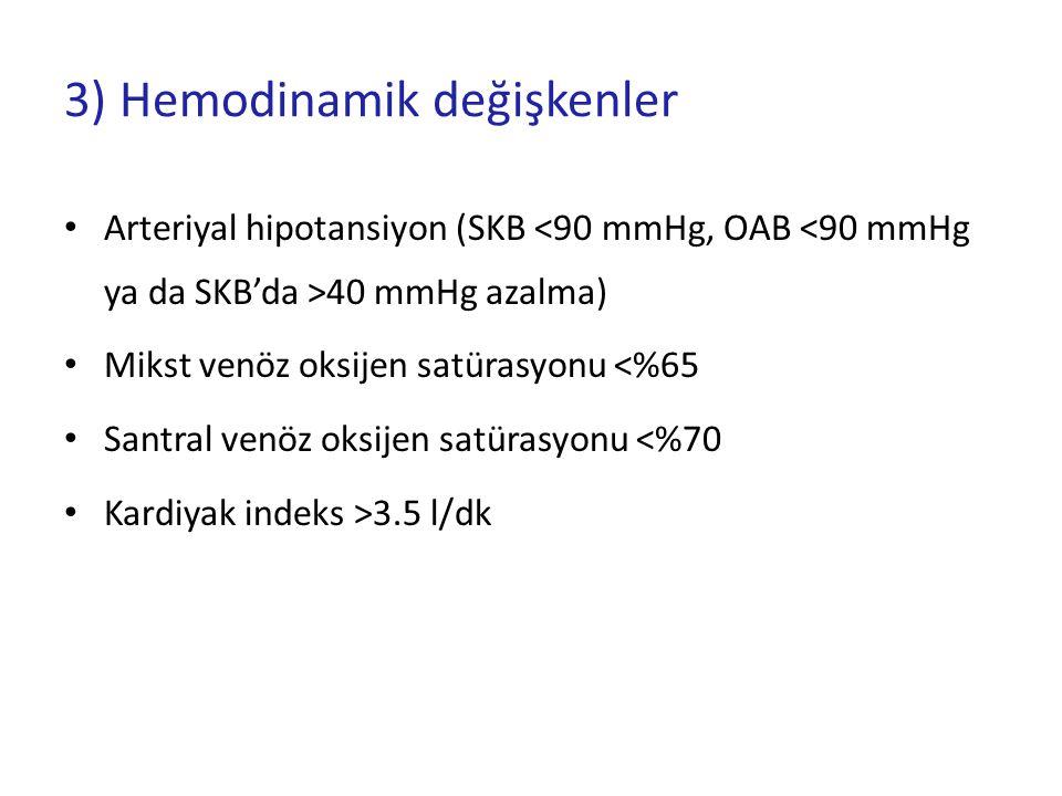3) Hemodinamik değişkenler