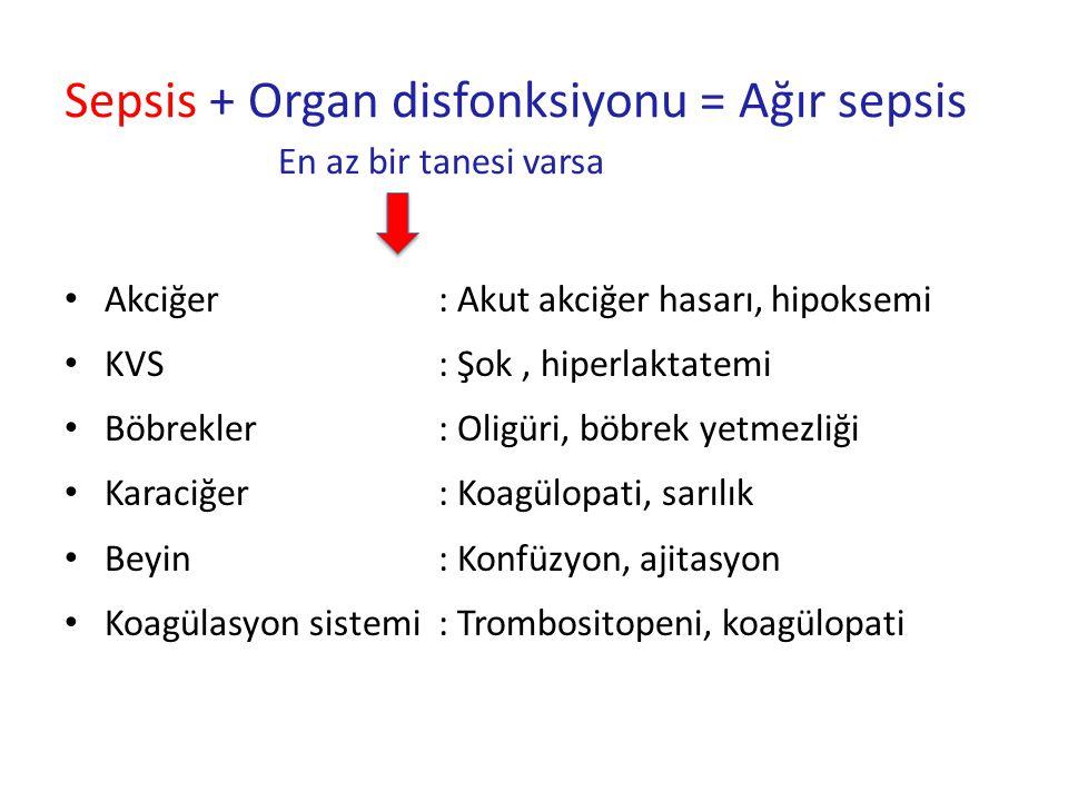 Sepsis + Organ disfonksiyonu = Ağır sepsis