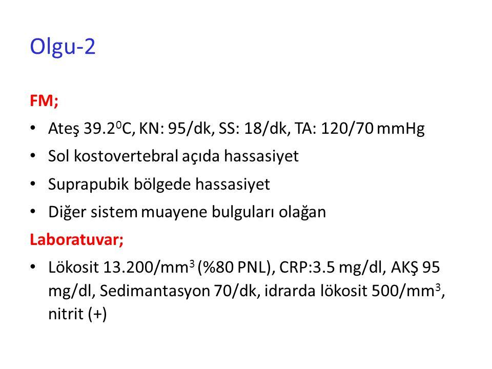 Olgu-2 FM; Ateş 39.20C, KN: 95/dk, SS: 18/dk, TA: 120/70 mmHg
