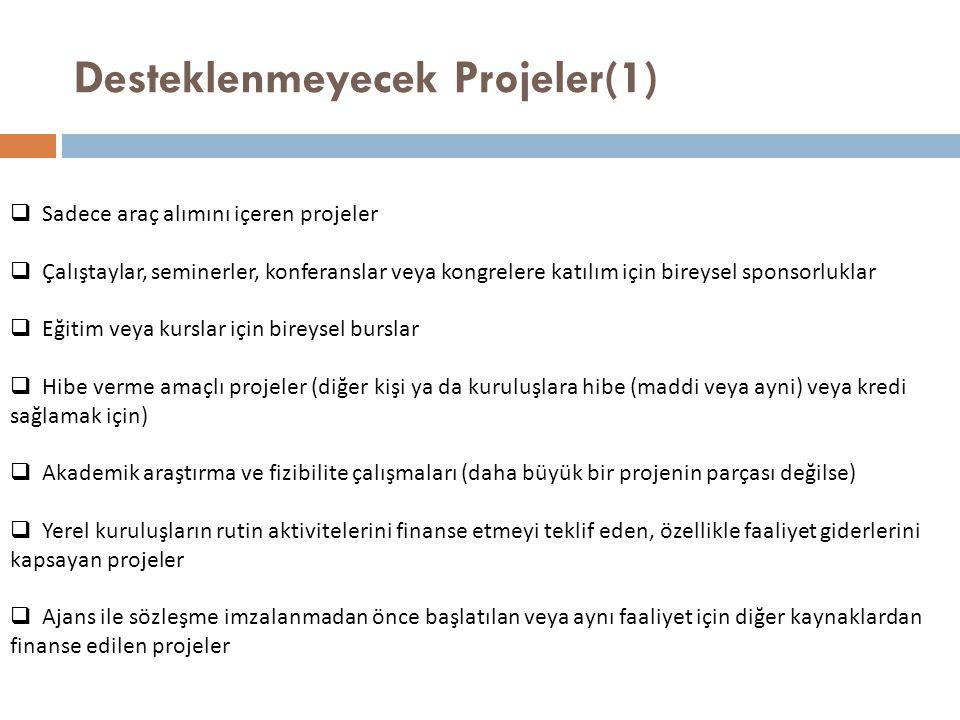 Desteklenmeyecek Projeler(1)
