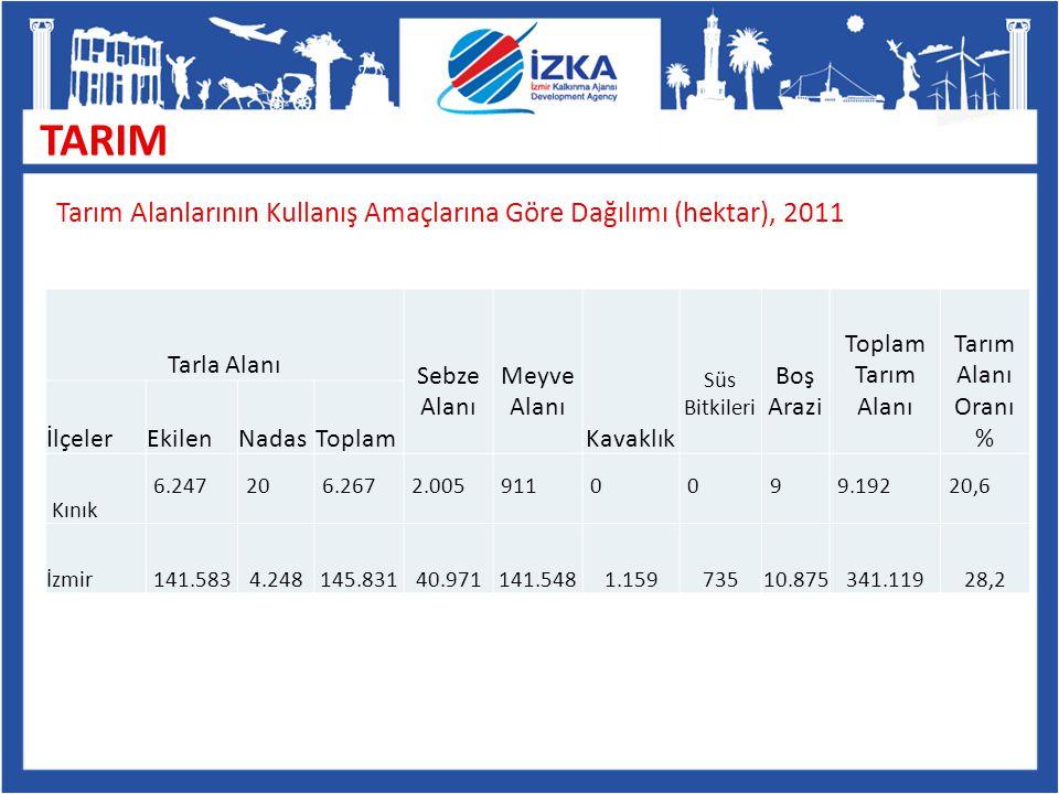 TARIM Tarım Alanlarının Kullanış Amaçlarına Göre Dağılımı (hektar), 2011. Tarla Alanı. Sebze. Alanı.