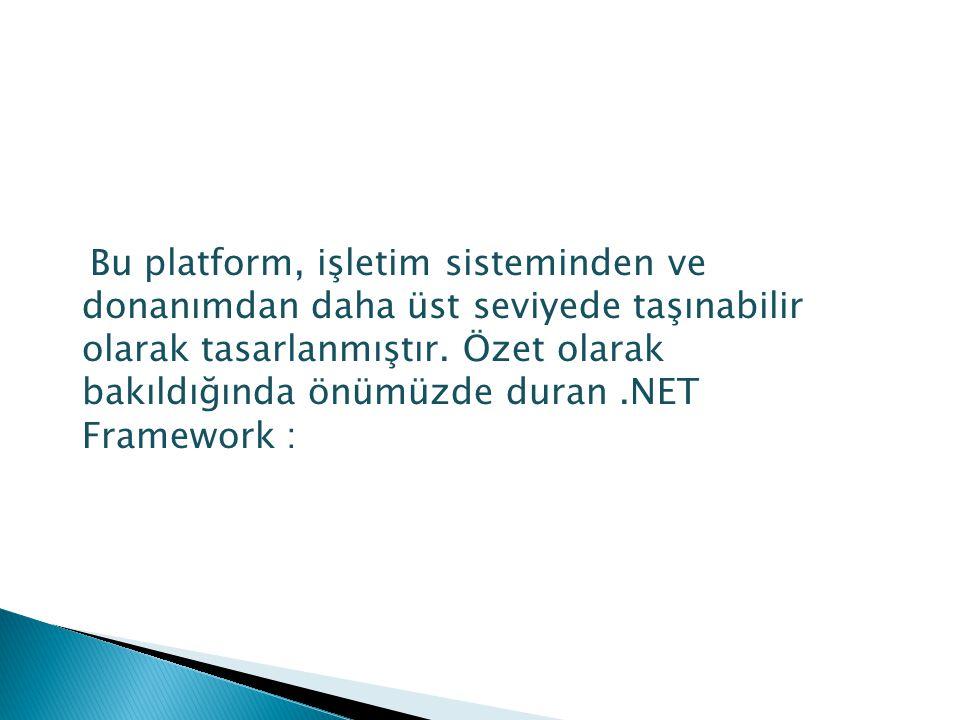 Bu platform, işletim sisteminden ve donanımdan daha üst seviyede taşınabilir olarak tasarlanmıştır.