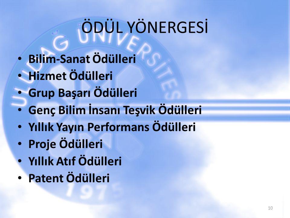 ÖDÜL YÖNERGESİ Bilim-Sanat Ödülleri Hizmet Ödülleri