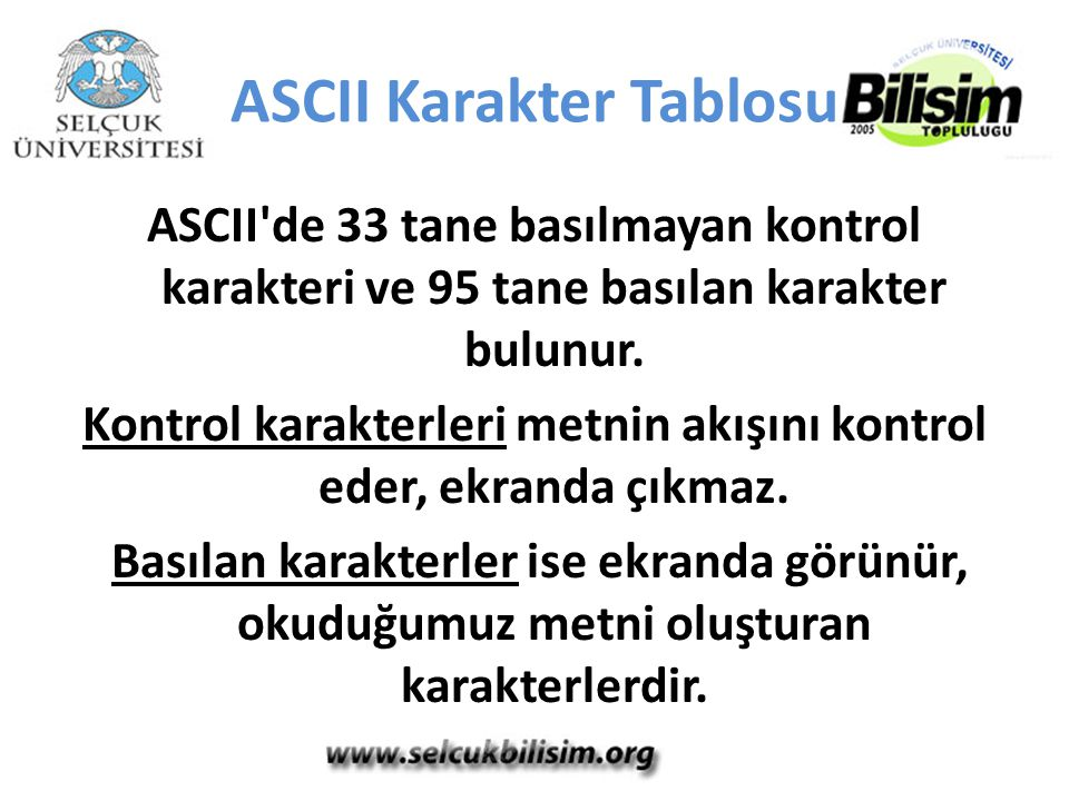 ASCII Karakter Tablosu