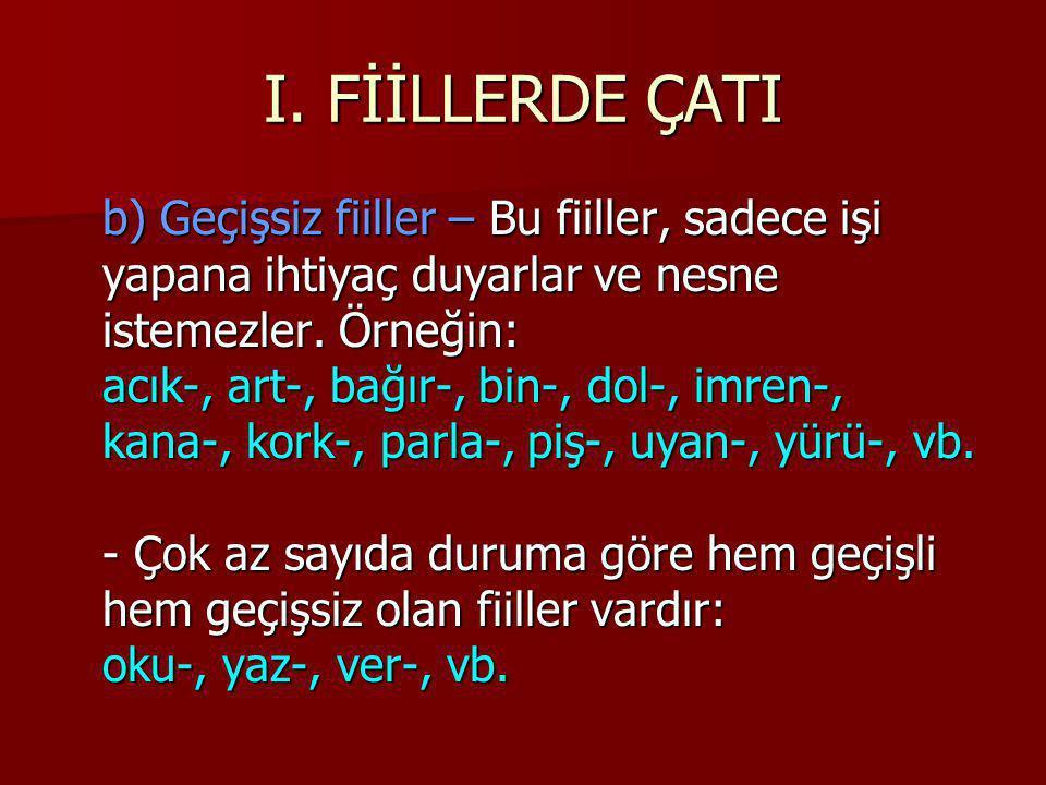 I. FİİLLERDE ÇATI