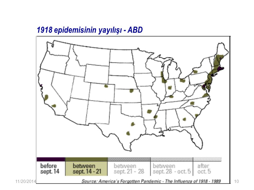 1918 epidemisinin yayılışı - ABD