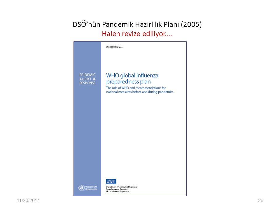 DSÖ'nün Pandemik Hazırlılık Planı (2005) Halen revize ediliyor....