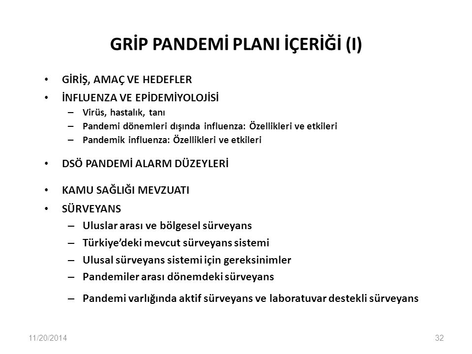 GRİP PANDEMİ PLANI İÇERİĞİ (I)