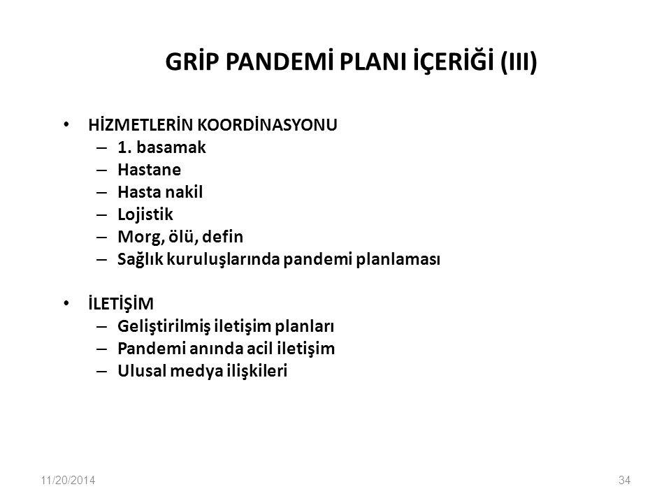 GRİP PANDEMİ PLANI İÇERİĞİ (III)