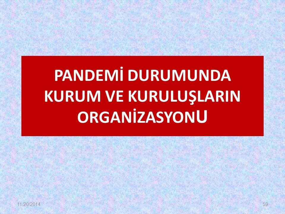 PANDEMİ DURUMUNDA KURUM VE KURULUŞLARIN ORGANİZASYONU