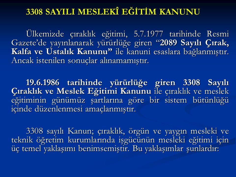 3308 SAYILI MESLEKÎ EĞİTİM KANUNU