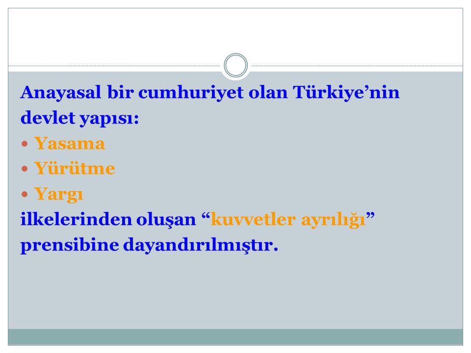 Anayasal bir cumhuriyet olan Türkiye'nin