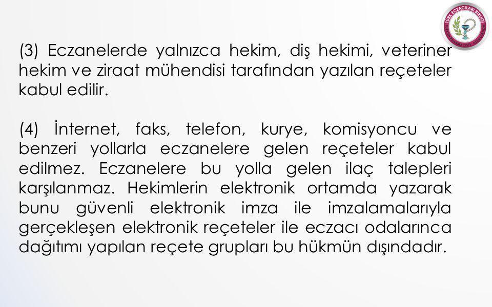 (3) Eczanelerde yalnızca hekim, diş hekimi, veteriner hekim ve ziraat mühendisi tarafından yazılan reçeteler kabul edilir.